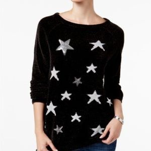 Style and Co Black Chenille Sequin Star Sweater